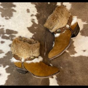 Handcrafted Vintage Tony Lama Suede and Fur Boots